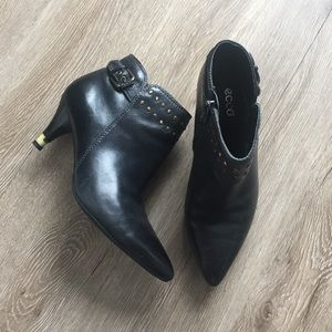 Ecco Black Leather Stud Ankle Boots
